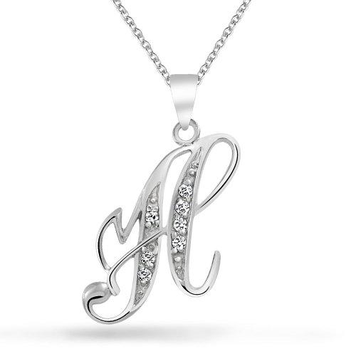 Bling Halskette Kostüm - Bling Jewelry ABC Zirkonia Pave CZ Schreibschrift Script Buchstabe Alphabet Initialen Erstmalige B Anhänger Halskette Für Damen Silber