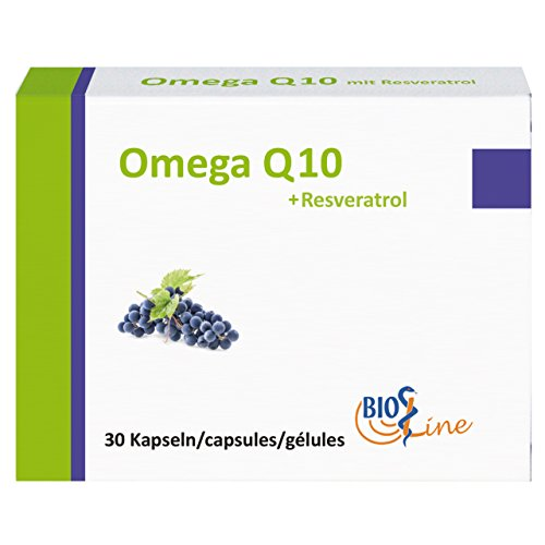 Bioline Omega Q10 mit Resveratrol, 30 Kapseln – Nahrungsergänzungsmittel mit Fischöl (EPA, DHA), Ubiquinon Q10, Resveratrol, L-Carnitin und Vitaminen