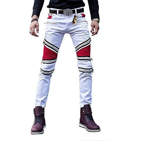 Pantaloni degli uomini Denim pista diritta Biker Jeans classico Slim