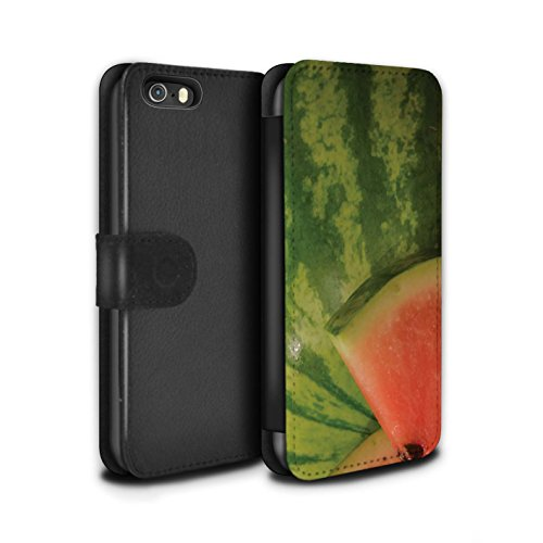 Stuff4 Coque/Etui/Housse Cuir PU Case/Cover pour Apple iPhone SE / Cassis Design / Fruits Juteux Collection Pastèque
