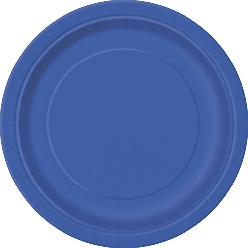 "AWESOME VALUE BLING PLATES 2 Packs of 7"" Round Paper Plates in a choice of 17 STUNNING COLOURS *** FREE UK POSTAGE *** (Royal Blue)"
