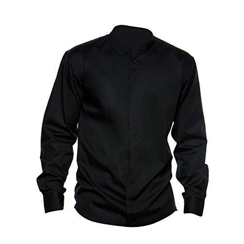 Bargear® - camicia collo coreana da lavoro - uomo (l) (nero)