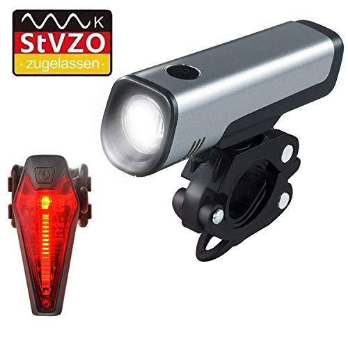 Mochatopia Fahrradlicht LED Set StVZO Zugelassen, USB Aufladbare Fahrradlichter und Fahrrad Rücklicht Akku Wiederaufladbare IPX4 Wasserdicht für Außen