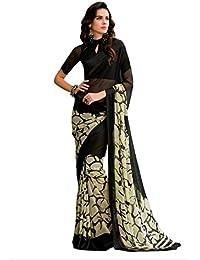 Jaanvi Fashion Women's Georgette Saree With Blouse Piece (Della-01,Black,Free Size)