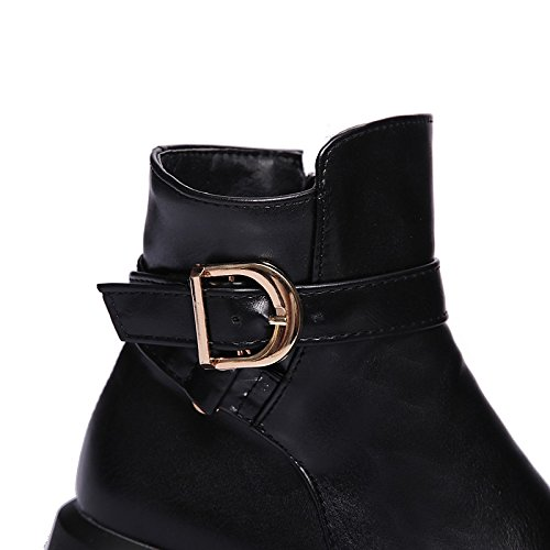 HSXZ Scarpe donna pu similpelle Autunno Inverno la moda Stivali Stivali Bootie Round Flat Toe stivaletti/Stivaletti fibbia per Officebito di carriera Black