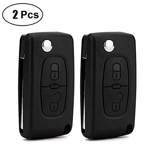 DaoRier 2 botones Carcasa llave plegables llaves blanco
