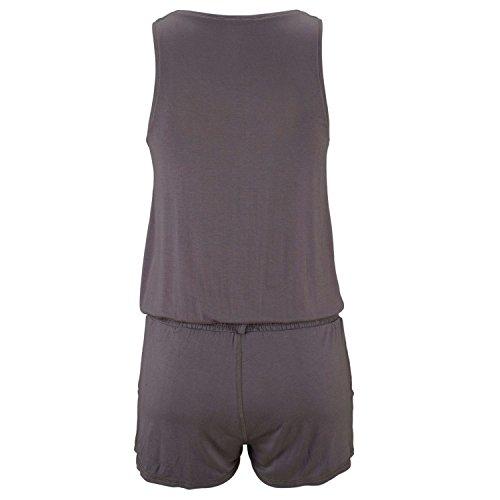Minetom Femme Sans manches Col-V Jumpsuit Casual Plage Playsuit Bodycon Clubwear Party Soirée Romper Gris