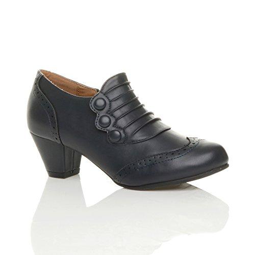 Femmes talon moyen bouton travail brogues richelieu bottes bottines pointure Mat bleu foncé