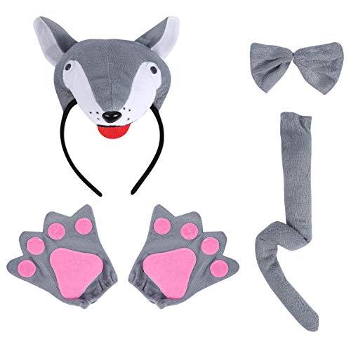 Amosfun Wolf Kostüm Kinder Niedlichen Cartoon Kostüm Anzug Stirnband Fliege Schwanz Handschuhe Set Leistungsrequisiten Halloween Kostüme Cosplay Party Favors (3D - Niedlichen Cartoon Paar Kostüm
