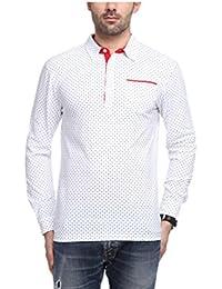 Yukth Men's Full Sleeve All Over Printed Polo T-shirt White