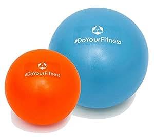 [2 palle] Set da 2 Mini palle per pilates »Bola« / Palla miofasciale per combattere tensioni e dolori muscolari / 2 dimensioni e colori (18cm & 28cm) / blu-arancione