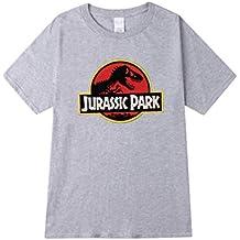 Yuandian Lovers Loose Selvatici Magliette Uomo/Donna Girocollo Manica Corta personalità T-Shirt con Jurassic Park Stampa a Tema