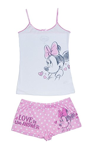 Junioren Damen Minnie Mouse Polka Dots Cami Set, Rosa und Wei?, Extra Large (Junioren Dot)