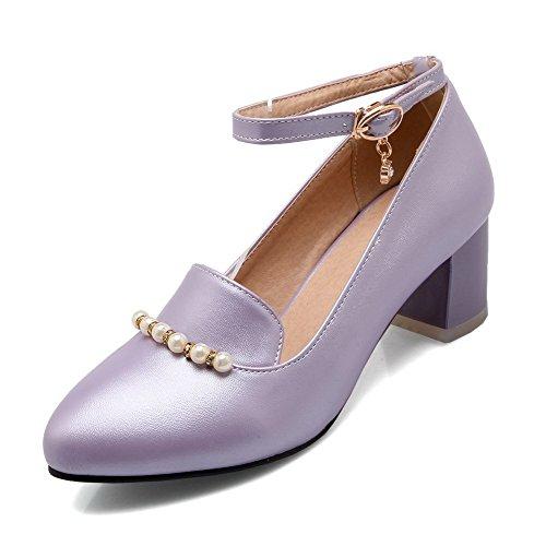 VogueZone009 Damen Mittler Absatz Rein Schnalle Spitz Zehe Pumps Schuhe, Lila, 33