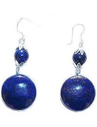 Boucles Lapis Lazuli 14mm sur crochets en Argent massif 925