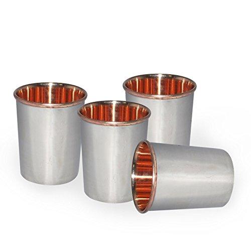 RoyaltyRoute Set pour 4 Verres en Verre de cuivre en Acier Inoxydable gobelet Vaisselle pour Table à Manger