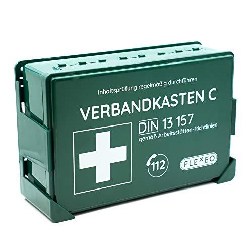 Betriebsverbandkasten, Verbandskasten gefüllt für Betriebe in grün mit Wandhalterung für Wandmontage (nach DIN 13157 gemäß ASR)