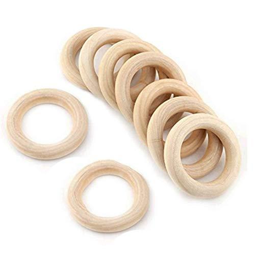 Unfertigen Holz-stücke (Ishua 20 Stücke 2,25 Zoll 55 MM Holz Ringe Holzkreise Unfinished Holz Baby Beißring Kinderkrankheiten Spielzeug Geschenk DIY Anhänger Anschlüsse Handwerk)