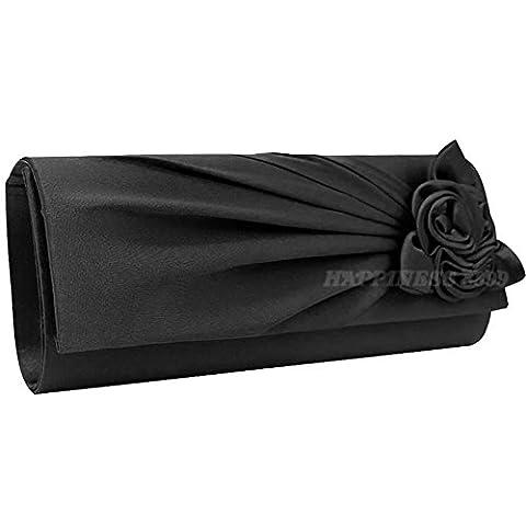 Wocharm Women's Evening Handbag Clutch Bag With Shoulder Strap Satin Rose Bouquet Wedding Party Clutch