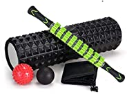 SKY-TOUCH 5 In 1 Fitness Foam Roller Set with Muscle Roller Stick and Massage Balls For Physical Therapy Pain