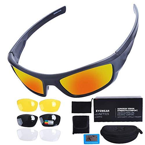 WYBFBYQ UV-Schutz-Sonnenbrille für Männer und FrauenSicherheit - Kratzschutzbrille, Augenschutz-Arbeitsbrille, Laborbrillen, taktisches Schießen, Outdoor-Sportreiten,Black