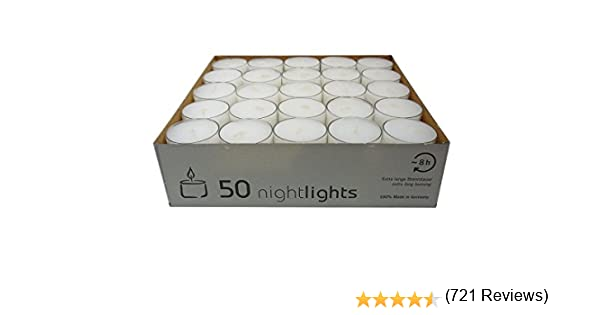 Wenzel-Kerzen 23-217-50-Uk Nightlights Lot de 50 Bougies avec R/écipients en Plastique Jusqu/à 8 H D?Autonomie