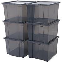 Iris Ohyama, Set 6 boîtes de rangement en plastique avec couvercle - Useful Storage Box - USB-M, gris, 40 L, 42 x 36 x 26,5 cm