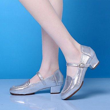 Latino Couro Dança Sapatos De Modernas Prático De As Mulheres Pedaços Calcanhar Prata De Sneakers BYwnFR