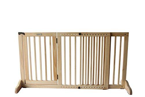 Simply Shield Supreme M | Hunde-Barriere | Hunde-Absperrgitter | Verstellbare Breite mit Tür | In 3 Farben und 2 Größen erhältlich (M, Naturholz)