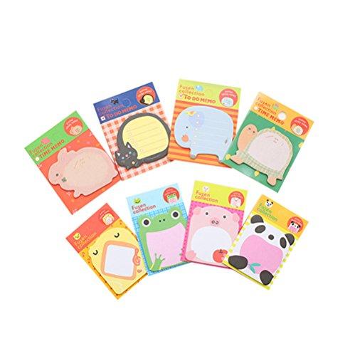 Msyou 1 Pack von 8 PCS Hinweis Selbst Stick Niedlichen Tier Post-it Notes Süße Notizblöcke Schule Bürohaus Stationäre Lieferungen