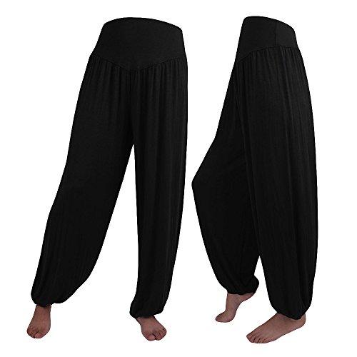 UFACE Frauen Casual Hosen Hosen Einfarbig Breites Bein Hosen Breite Beine Lange Hosen Casual Hohe Taille Hosen Plus Größe (2XL, Schwarz)