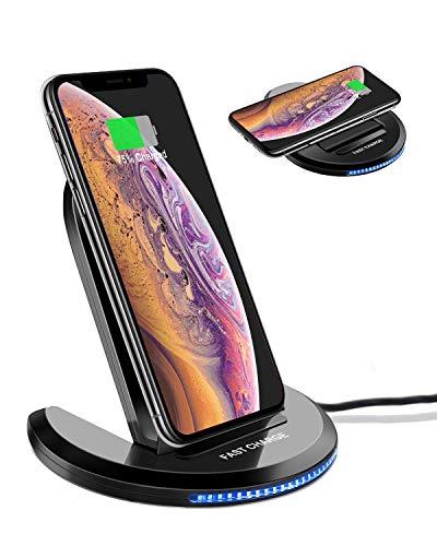 ELEGIANT Chargeur sans Fil, Chargeur à Induction Pliable Station de Rechargement Rapide pour IPhone 8/8 Plus/X /XR /XS /XS Max Samsung Galaxy S8 /S8 Plus /S7 /S7 Edge et Autres Compatibles avec Qi