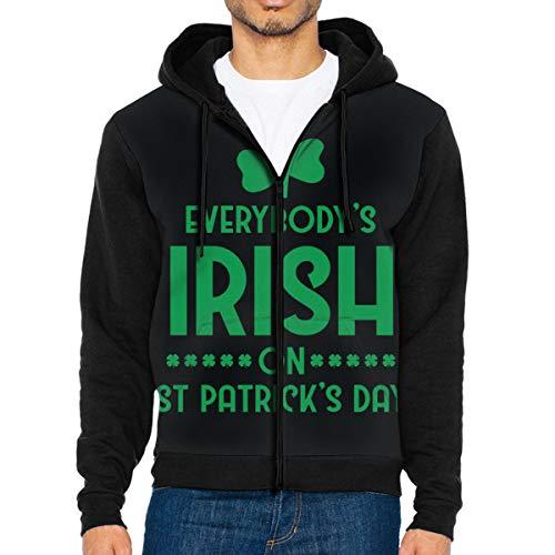 Nicegift Everybody's Irish On St Patrick's Day Men's Full-Zip Hoodie Jacket Sweatshirt XXL (Zip-up Hoodie Irish)