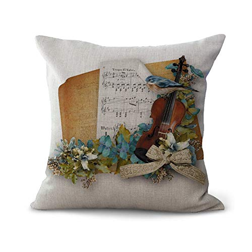 OPoplizg Cushion Cover Musical Instrument Violin Colorful Brilliant Musical Note Creative Art Pillow Case Home Bar Club Car Bed Decor Sofa Cushion Cover 45cm x 45cm(18 x 18inch) MY-C1085-01 (#8)