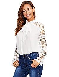 DIDK Damen Elegant Bluse mit Spitzen-Ärmeln und Schleife Langarm Sommerbluse 0781e60944