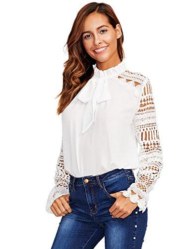 DIDK Damen Elegant Bluse mit Spitzen-Ärmeln und Schleife Langarm Sommerbluse Weiß M
