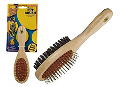 Dual Double Sided Wooden Pet Brush Grooming Massage Clean Dog Cat Puppy