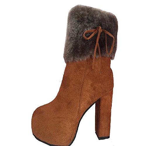 Hsxz Femmes Chaussures Nubuck Cuir Automne Automne Bottes De Combat De Printemps Bottes Chaussures De Marche Chunky Perlé Bottes Bout Rond / Cheville Bottes Vers Le Bas Noir