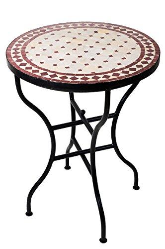 Mosaiktisch Beistelltisch Marrakesch Natur/Bordeaux 60cm NEU