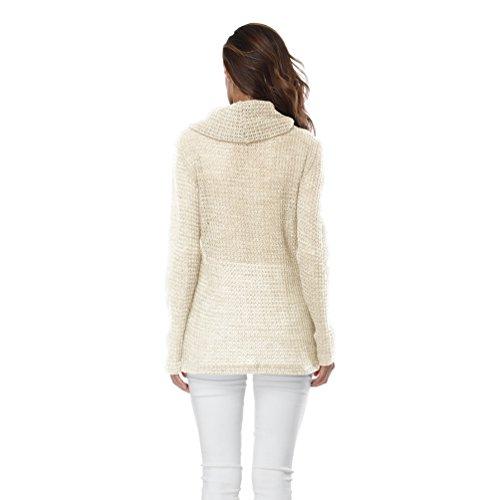 Sentao Maglioni Donna Manica Lunga Autunno Inverno Collo Alto Elegante Maglioni di Maglia Moda Maglione Pullover Tops Albicocca