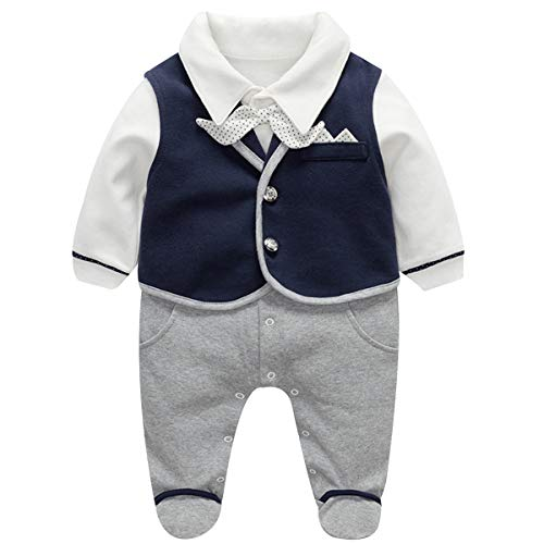 famuka Baby Junge Smoking Neugeborenen Anzug Taufe Hochzeit Babykleidung (Blau, 0-3 Monate/59)