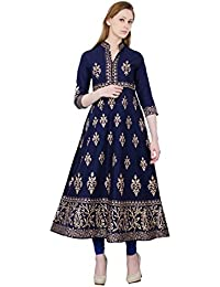 Zoeyams Women's Navy Blue Cotton Block Prints Long Anarkali Kurti