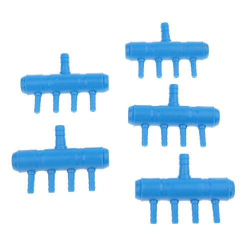 perfk Aquarium Pumpe Luftventil Luftverteiler Air Flow Control, 5er-Pack - 1 bis 4 Steckdose -