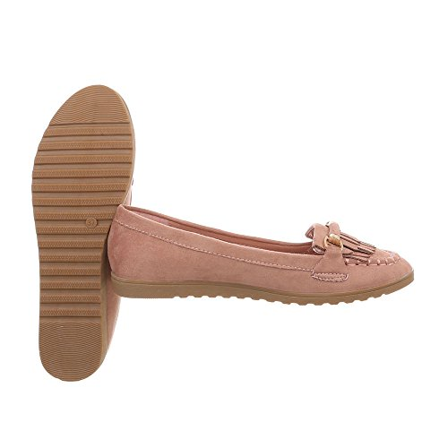 Ital-Design Chaussures Femme Mocassins Plat Slippers Altrosa TS11