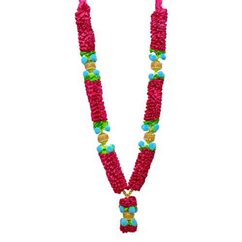The Holy Mart Yellow and Pink Rose Satin Garland Mala for Photo Frames for Men and Women
