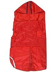 "Choostix Dog Rain Coat, Hoodie, Light Weight and Waterproof, Red, Medium 16"""