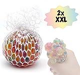 L+H 2X XXL Anti-Stress-Ball Quetschball Regenbogen   hochwertig verarbeitet   für Kinder und Erwachsene   6cm Durchmesser   Rainbow Knetball Knautschball im Netz   für das Büro oder Kindergeburtstag