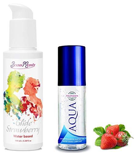 Essbares Erotik Massage-Öl Set Sexöl mit aphrodisierend Erdbeere Geschmack 100 ml.& Aqua wasserbassiertes Gleitmittel (100ml.) Liebesöl für Körper-Massagen Paar Intim-Massagen Sex