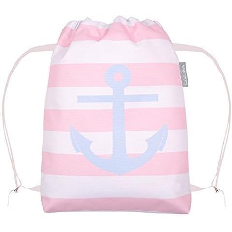 Nautica New England rosa e bianco A righe Ancora Impermeabile Nuoto/ Scarpe/ Palestra/ PE/ Zaino Borsa