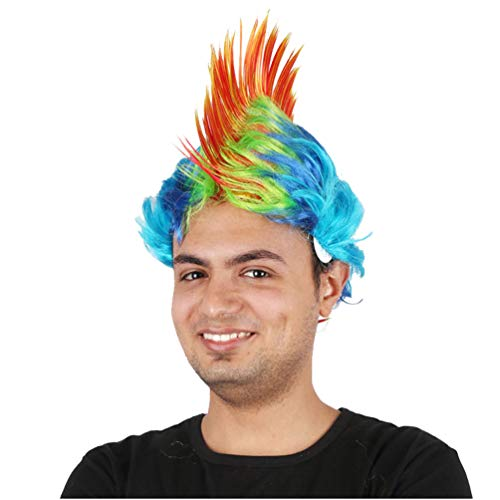 Halloween Maskerade Perücken Punk Frisur Hahnenkamm Haar Perücke Kopfbedeckung Mohawk Mohican Frisur für Männer Frauen Neue Mode Keine Spitze Weihnachten Kostüm Karneval (Orange Blau) (Perücke Weiß Mohawk)